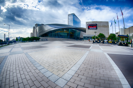 fame: Charlotte, NC - October, 11, 2014 nascar hall of fame plaza in the morning