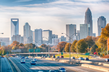 charlotte north carolina skyline during autumn season
