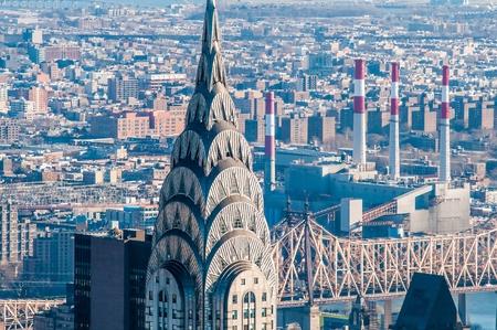 New York City Manhattan midtown aerial panorama view with skyscrapers Stock Photo
