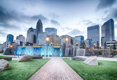 and scape: new Romare-Bearden park in uptown Charlotte North Carolina