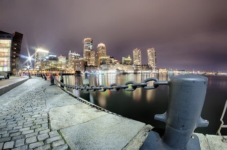 boston tea party: Boston harbor and Financial District Stock Photo