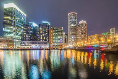 boston tea party: Boston harbor and Financial District Stock Photo