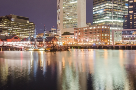 boston tea party: Boston harbor and Financial District Editorial