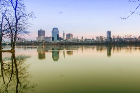 massachusetts: springfield massachusetts city skyline early morning