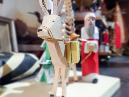 rein: handcrafted caribou rein deer and santa Stock Photo