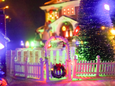 christmass toy village town photo