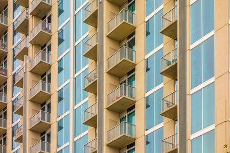 apartment: balconies array on an apartment building