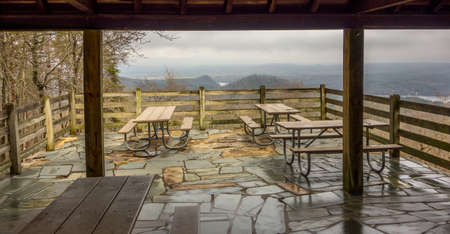 mountain view: picnic tables with mountain view background