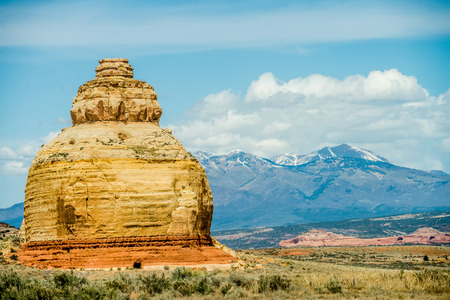 navajo land: Church rock US highway 163 191 in Utah east of Canyonlands National Park Stock Photo