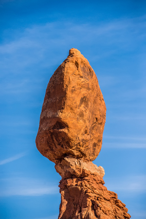 moab: Balanced Rock in Arches National Park near Moab  Utah at sunset Stock Photo