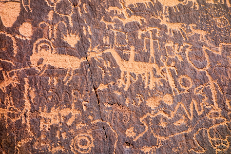 Petroglyphs at Newspaper Rock State Historic Monument in Utah United States  near Canyonlands National Park