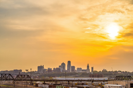 panorama city panorama: Kansas City skyline at sunrise