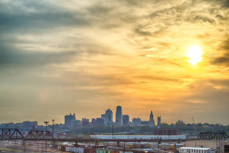 city view: Kansas City skyline at sunrise