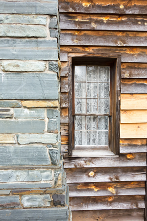 restored: restored historic wood house in the uwharrie mountains forest Stock Photo