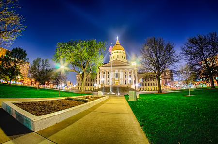 historical sites: topeka kansas downtown at night Stock Photo