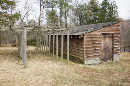 restored: restored historic wood house in the uwharrie mountains forest Editorial