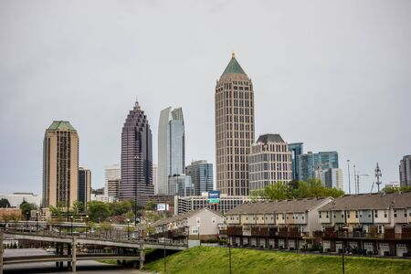 atlanta city skyline on a cloudy day