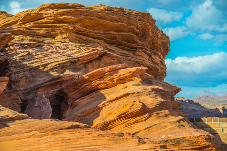 rock strata: waves geological rock formations in arizona
