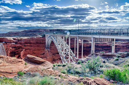 page arizona: lake powell dam and bridge in page arizona