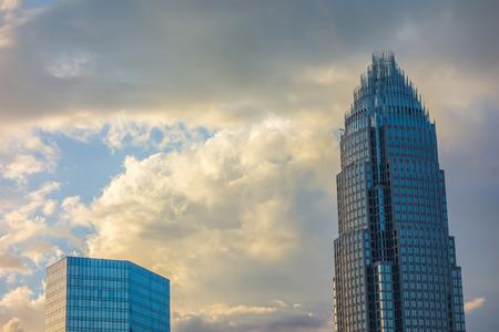 high rises: sunset over charlotte city skyline of north carolina Stock Photo