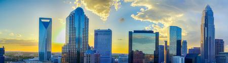 sunset over charlotte city skyline of north carolina 写真素材