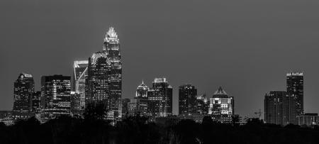 north carolina: charlotte north carolina night skyline Stock Photo