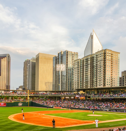 ballpark: charlotte north carolina city skyline from bbt ballpark Editorial