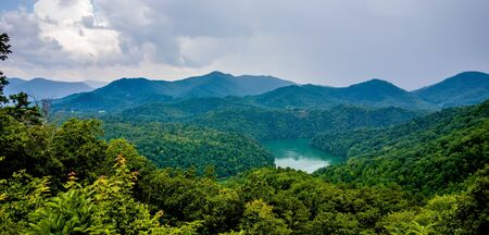great smoky mountains: beautiful aerial scenery over lake fontana in great smoky mountains