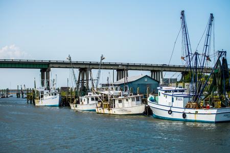 tybee island: boats and fishing boats in the harbor marina