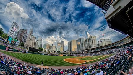 July 2015 Charlotte NC - bbt baseball charlotte nc knights baseball stadium and city skyline Editorial