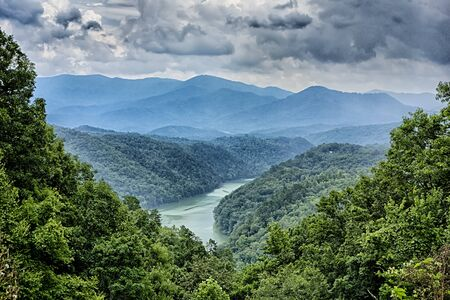 smoky mountains: beautiful aerial scenery over lake fontana in great smoky mountains