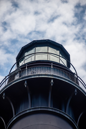 hunting island lighthouse with blue sky