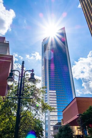 nc: charlotte nc skyline and street scenes during day time Stock Photo
