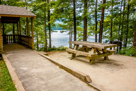 lake dwelling: Log cabin surrounded by the forest at lake santeetlah north carolina usa