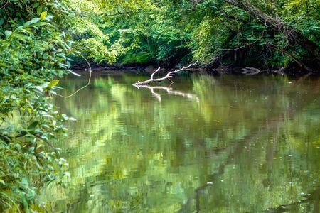 limpid: broad river water flow through blue ridge mountains Stock Photo