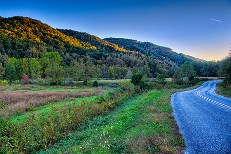 driving through  blue ridge mountains national park