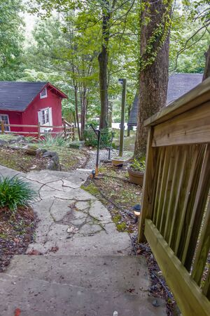 stone steps leading to a mountain vacation home Imagens