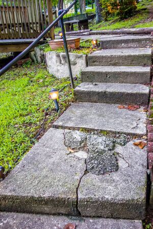 vacation home: stone steps leading to a mountain vacation home Stock Photo