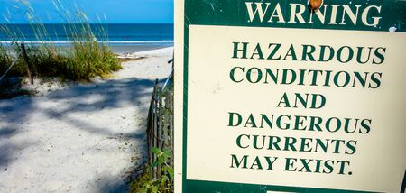 currents: hazardous rip currents warning sign on hunting island nc