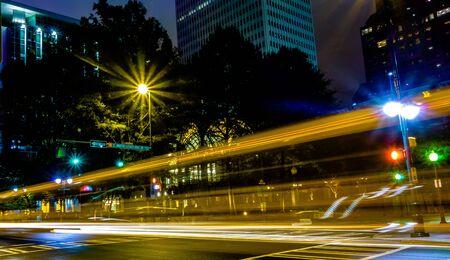 charlotte: night time on streets of charlotte north carolina