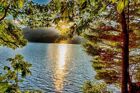 smoky mountains: lake santeetlah scenery in great smoky mountains