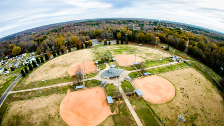 recreation area: recreation area adjacent baseball fields aerial view Editorial