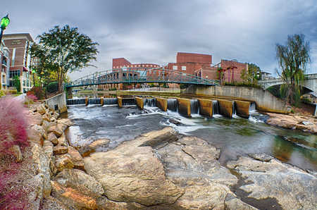 downtown of greenville south carolina around falls park Imagens