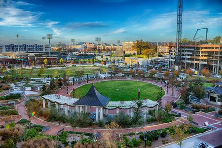 aerial view of romare bearden park in downtown charlotte north carolina