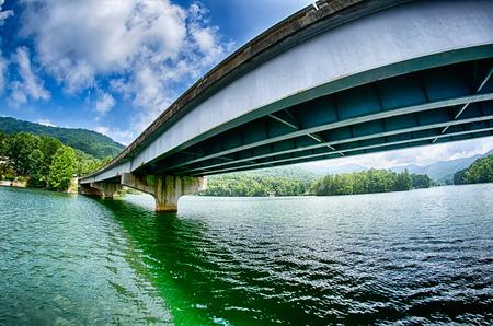 overpass: overpass freeway  bridge spans across a lake