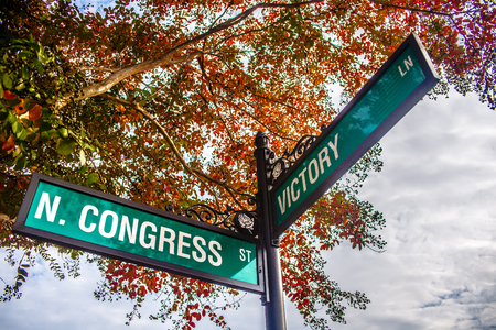 street signs: autumn season in downtown of white rose city york suth carolina