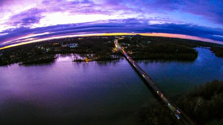 river county: aerial view over catawba river in gaston county north carolina Stock Photo