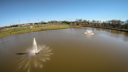 aeration: aerial view of water pond aeration fountain