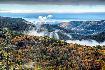 wnc: Blue Ridge Parkway National Park Sunrise Scenic Mountains Autumn Landscape