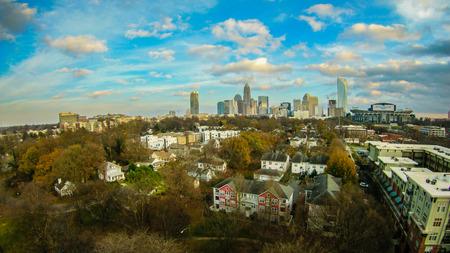 charlotte: aerial over charlotte city north carolina